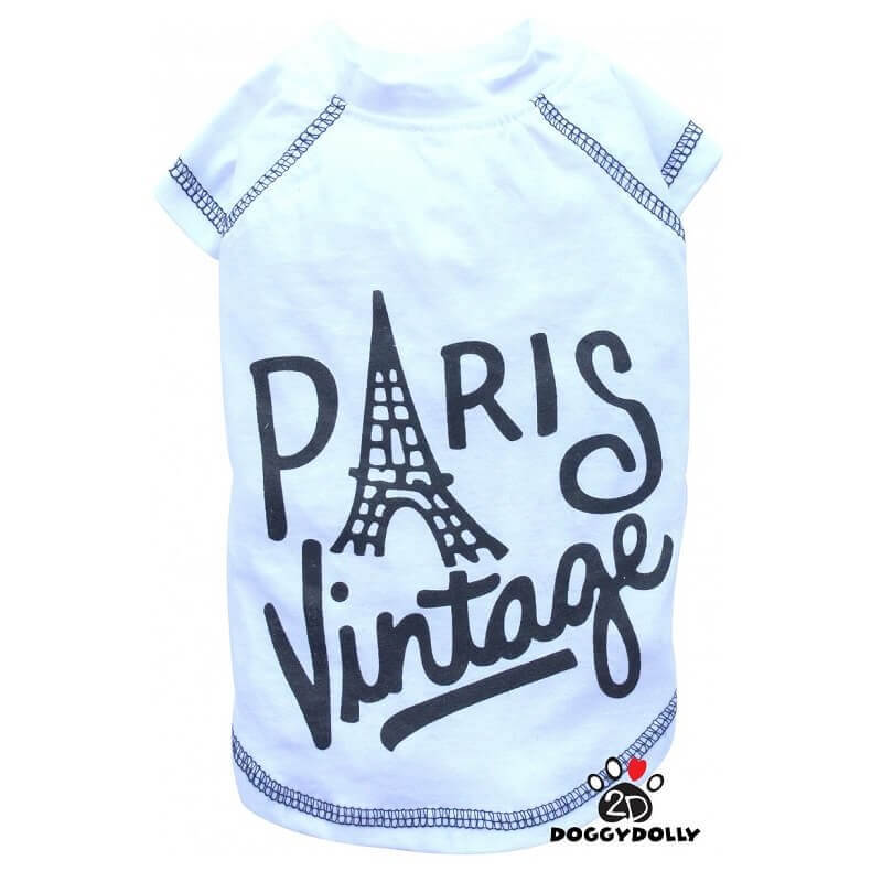 Doggy Dolly Vintage Paris Tshirt Beyaz Large
