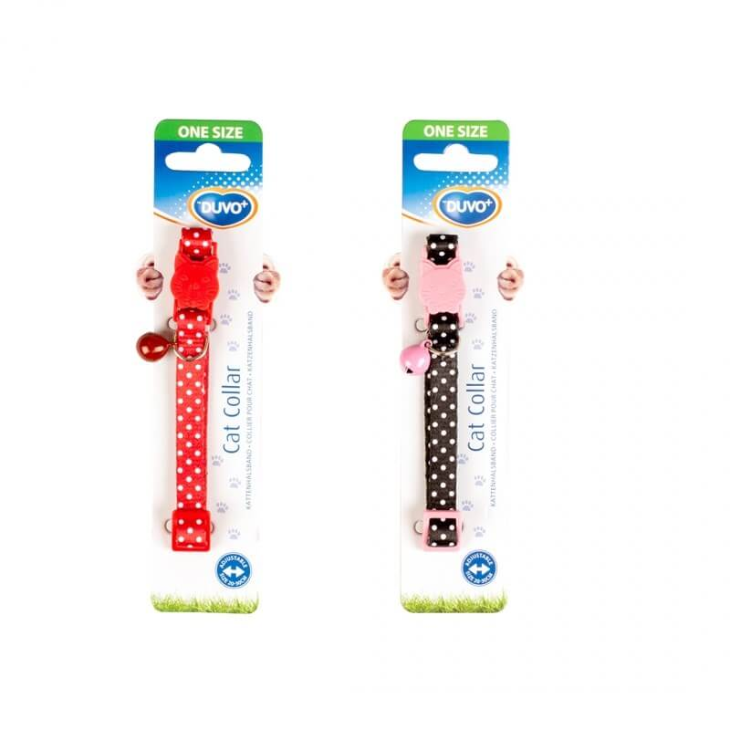 Duvo+ Cat Collar White Dots Kedi Tasması Black/Red