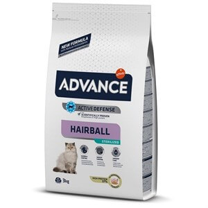 Advance Cat Sterilized Hairball Hindili Kısır Kedi Maması 3 Kg