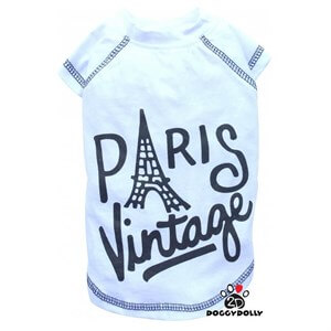 Doggy Dolly Vintage Paris Tshirt Beyaz Small